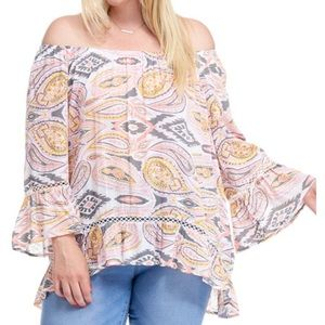 Fever Paisley Print 3/4 Sleeve Blouse 1X NWT
